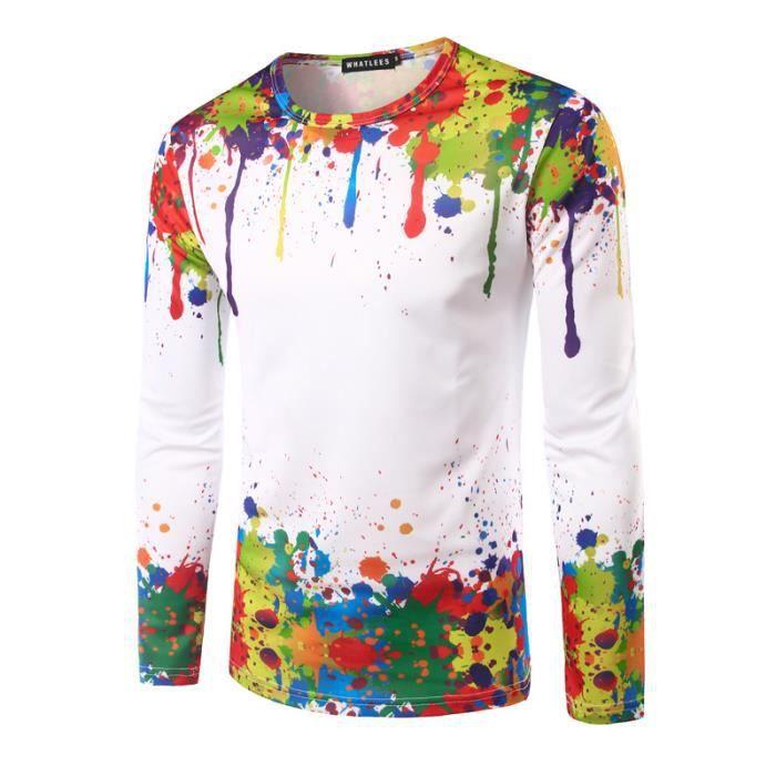 3d tee shirt homme couleur hit blanc marque luxe pour. Black Bedroom Furniture Sets. Home Design Ideas
