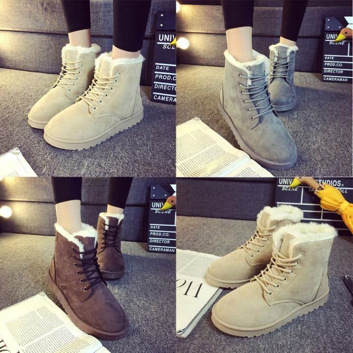 Mode dames femmes bottes à la cheville plate dentelles en fourrure recouvertes d'hiver chaussures de neige chaudes