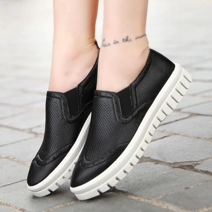 chaussures multisport Femme Plate-forme de coréenne douce sport en cuir Souliers simples de femmenoir taille38
