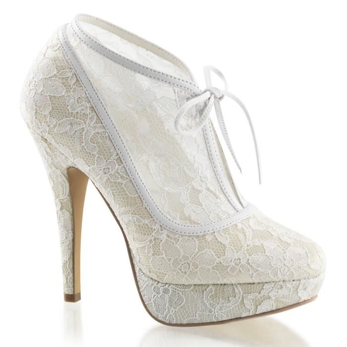 Fabulicious LOLITA-32 5 Inch Heel, 1 Inch PF Lace Overlay Bootie w/Bow Tie