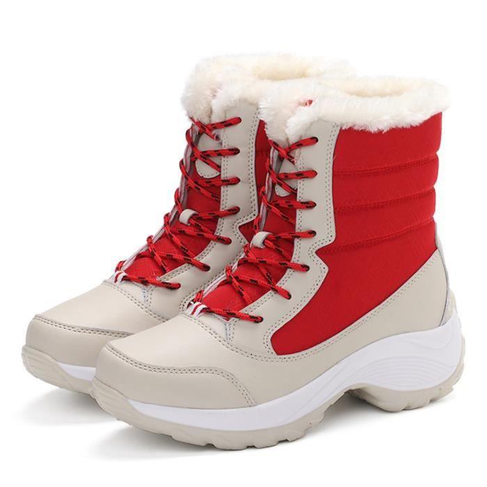 Bottes de neige fourrées femme Haut qualité Martin Bottes femmes Mode anti-glissement résistantes à l'usure Ch dssx418rouge38