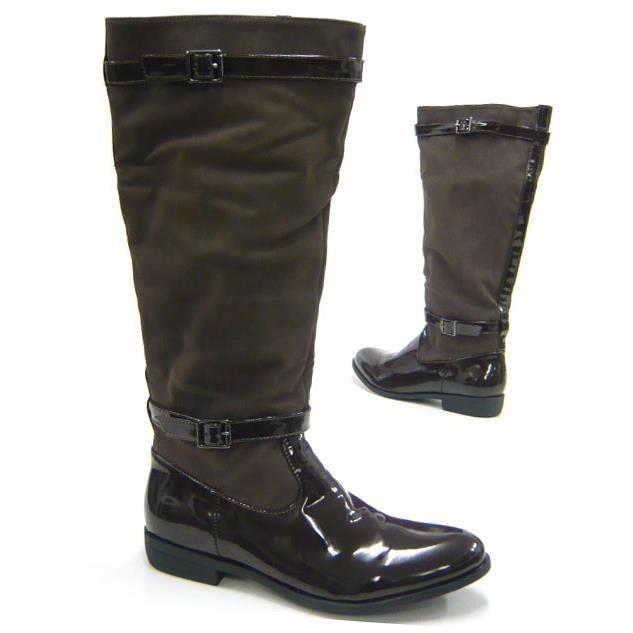 femmes chaussures bottes cavalier Style Look en cuir verniBoots marron 39