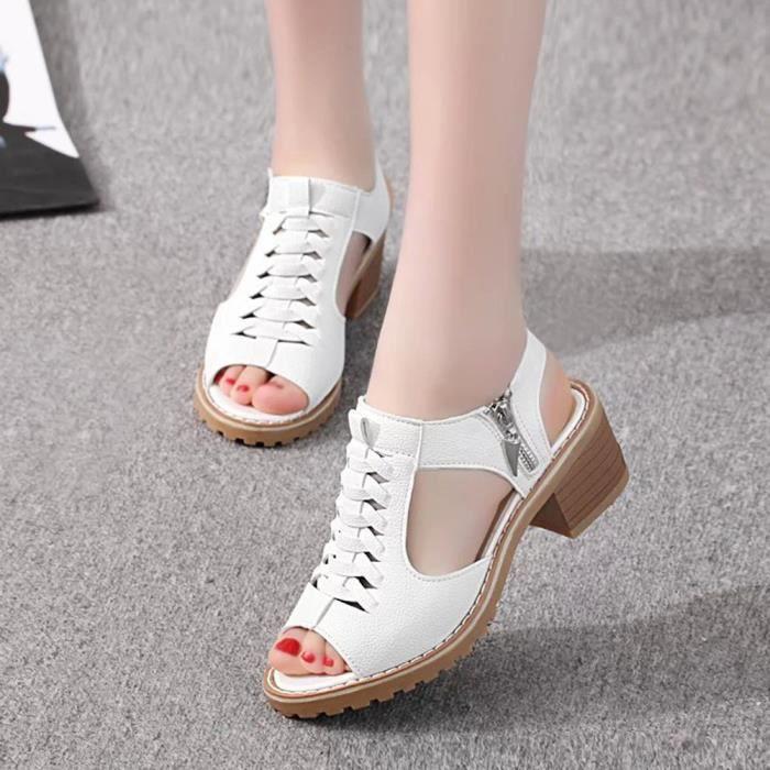 Napoulen®mode Peep Toe Solid Wild Carré sandales populaire pour femmes Blanc-XPP71225731WH