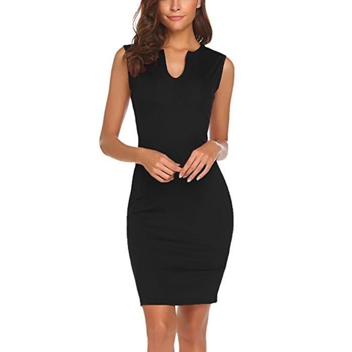 47d747ae3cd81 L'usure des femmes au travail sans manches de bureau v robe moulante crayon  Noir