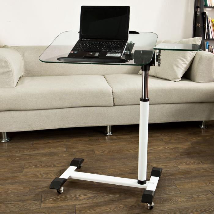 sobuy fbt07n5 table de lit informatique roulante en verre. Black Bedroom Furniture Sets. Home Design Ideas