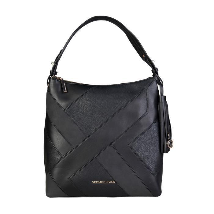Sac Versace Jeans à bandoulière noir simili cuir porté épaule E1VQBBK3