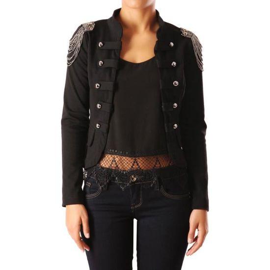 923424c58e7f Blazer officier épaulettes perlées et franges noir Noir - Achat   Vente  veste - Cdiscount