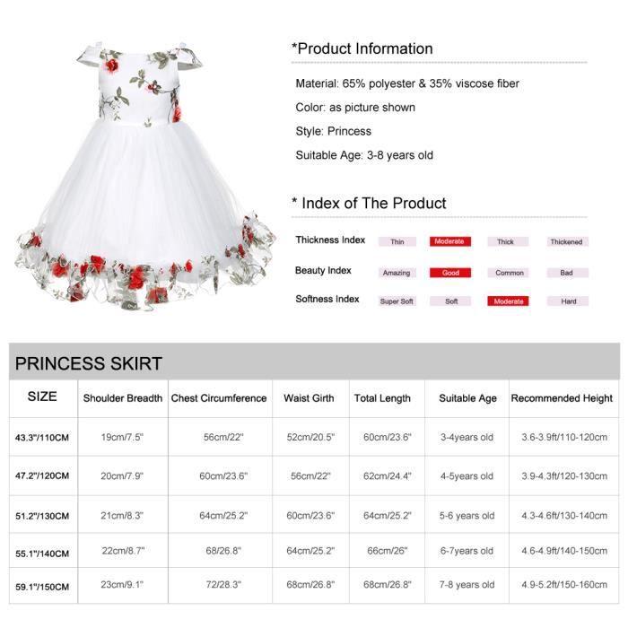 Robe de princesse Fleur Filles Robe bowknot, Rouge