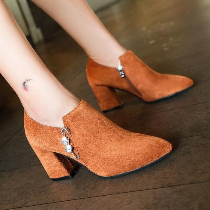2017 automne et d'hiver avec des bottes épaisses nouvelles courtes bottes pointues Martin givrée bottes en daim nues à talons hauts