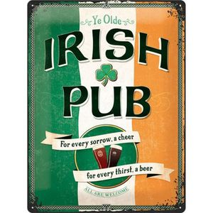 OBJET DÉCORATION MURALE Plaque en métal 30 X 40 cm : Irish Pub - Pub irlan