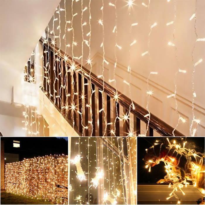 Extérieur Intérieur Rideau Guirlande Lumineuse Etanche Décoration LED 300  LED 3X3M Décoratif Guirlande 8 Mode Lampe EU