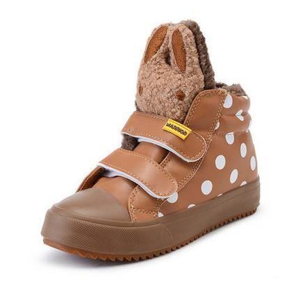 Chaussures enfants nouvelles chaussures de filles chaudes bottes imperméables chaussures de bébé, marron 32