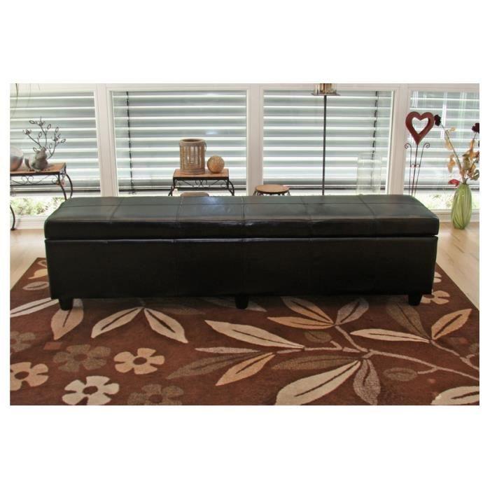 banquette banc coffre de rangement cuir xl 180 cm achat. Black Bedroom Furniture Sets. Home Design Ideas