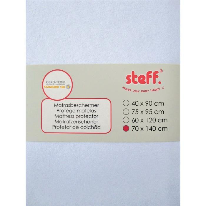 Steff Protège matelas 70x140 cm blanc impermeable sur couche de PU