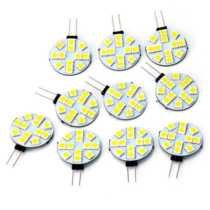 AMPOULE - LED 10 x G4 12 LED 5050 SMD Lampes Ampoules DC 12V Bla