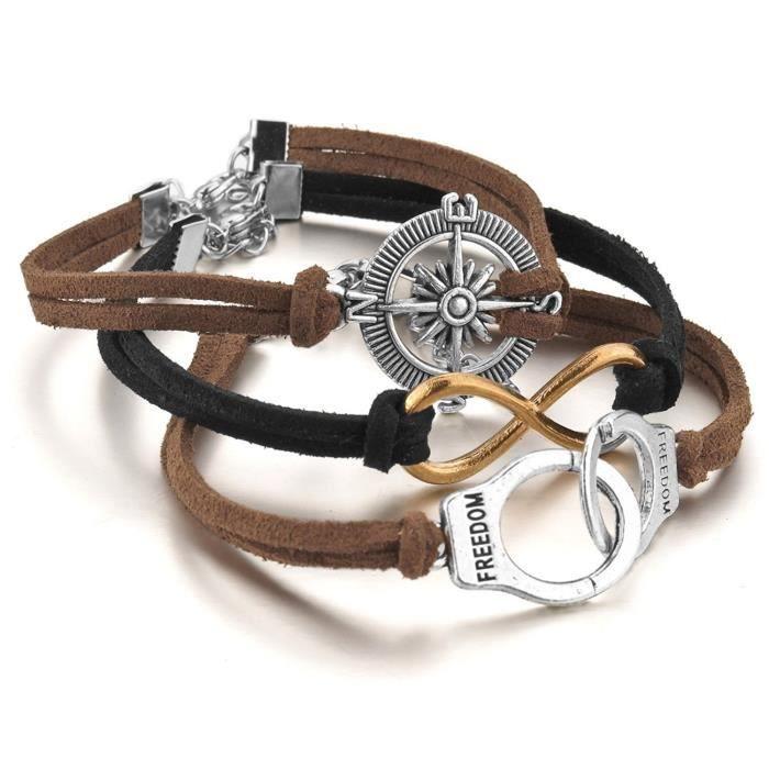 Alliage Genuine Leather Cuir Véritable Bracelet Lien Poignet Or Argent Noir Brun Boussole Menotter Infinity Infini Surfer Envelo