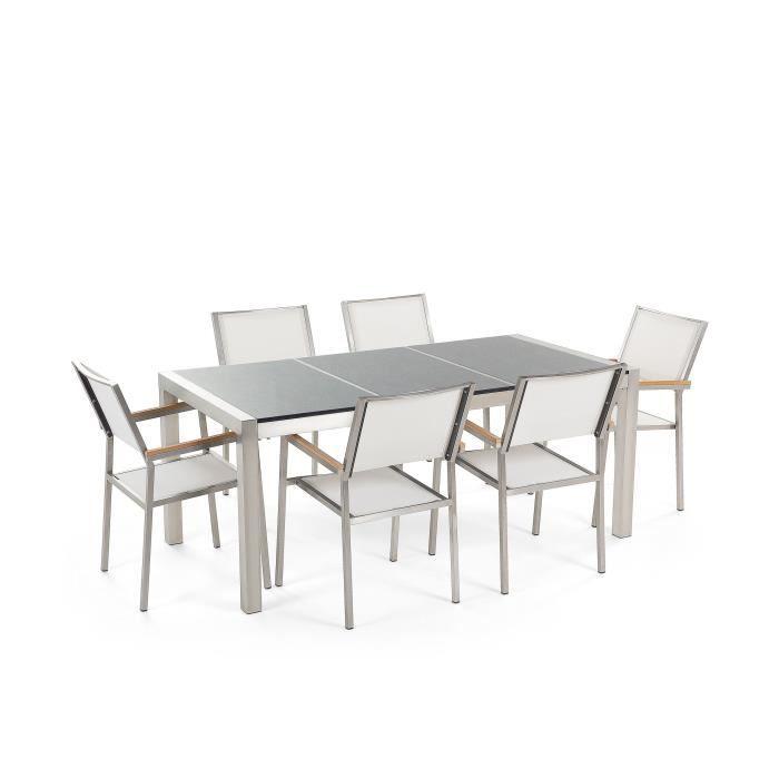 Table de jardin acier inox - plateau granit triple gris poli 180 cm avec 6  chaises en textile blanc - Grosseto