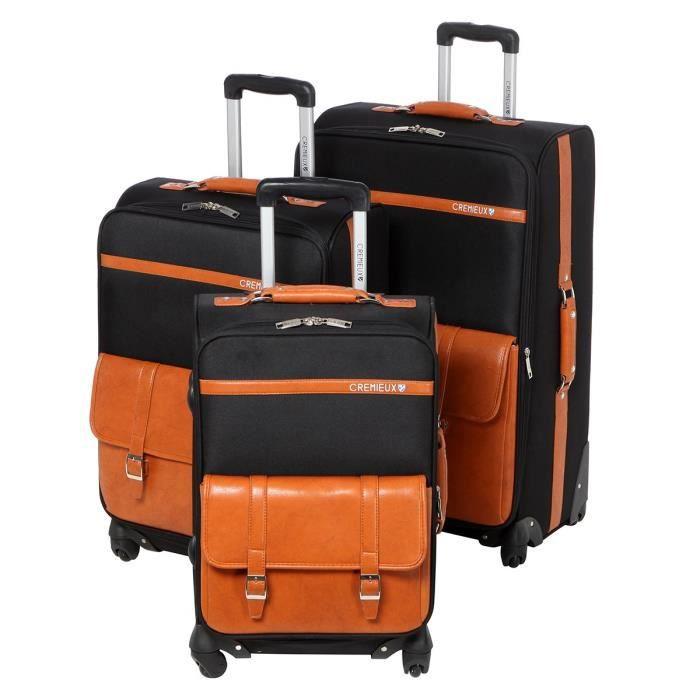 daniel cremieux set de 3 valises 4 roues 50 60 70 cm noir et orange noir achat vente set de. Black Bedroom Furniture Sets. Home Design Ideas