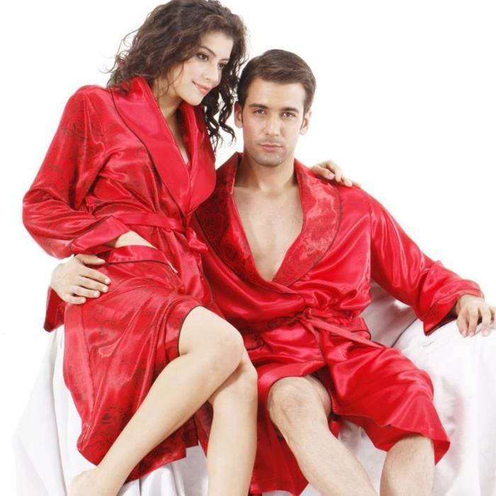robe de chambre soie luxe femme satin rouge passion avec motifs