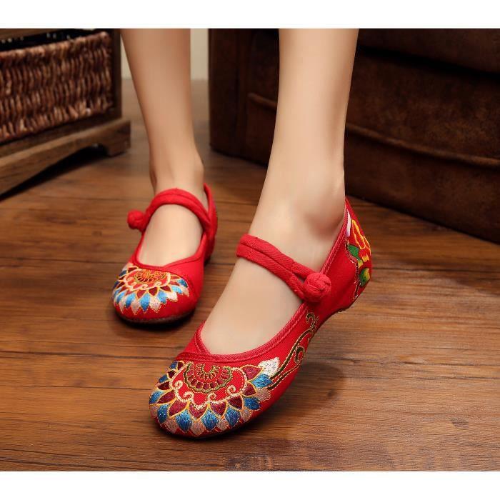 5fc374ea892f9 Ballerine Femme de Chaussures de marche chaussu... Rouge Rouge ...