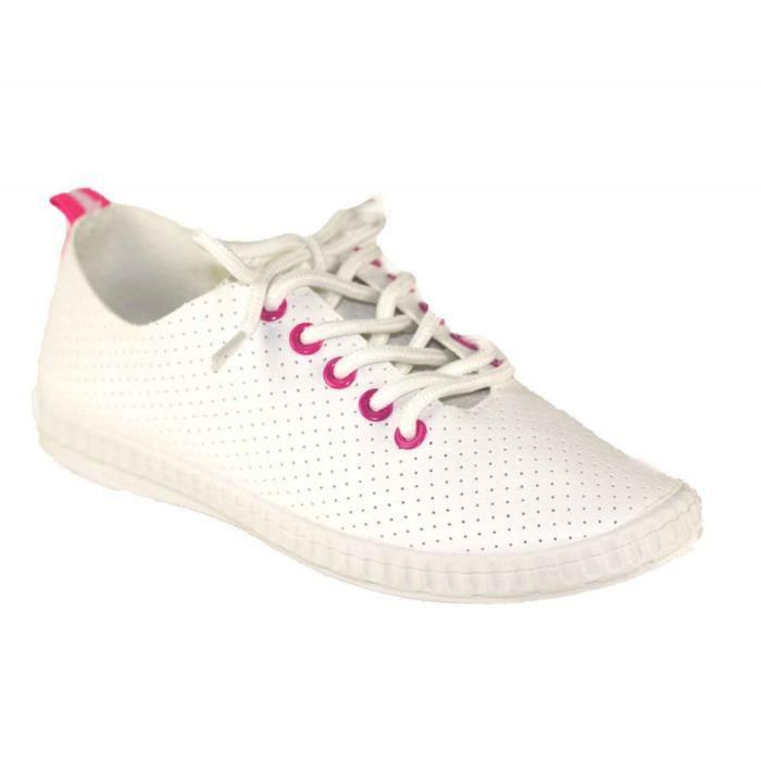 Souple 41 Aspect Femme Baskets Cuir Sneakers Blanc Légères VzpMSU