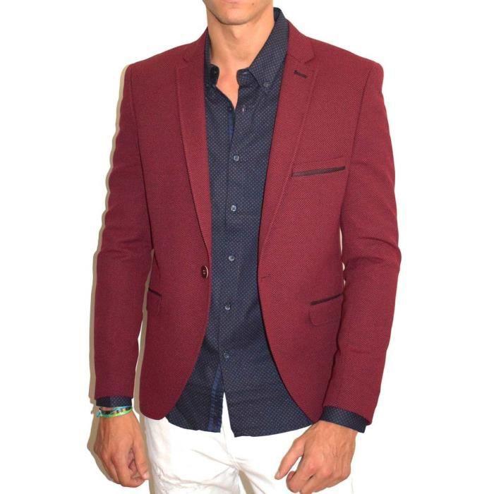 Veste costume homme rouge bordeau