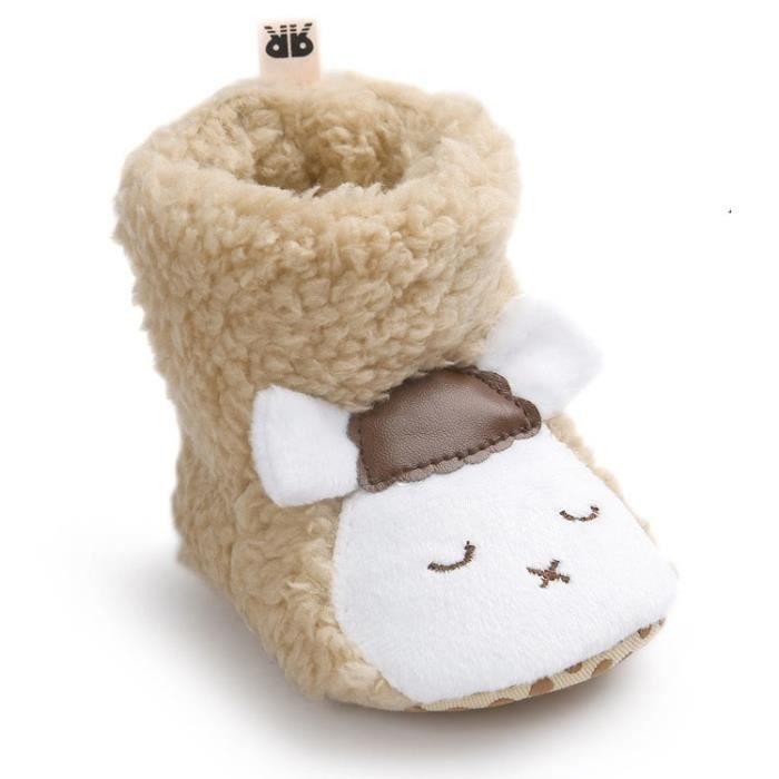 Mouton Marron Bottes de neige Bébé d'hiver Chaussure de Bébé Fille et Garçon premier pas en coton 0-6-12 mois 12-16