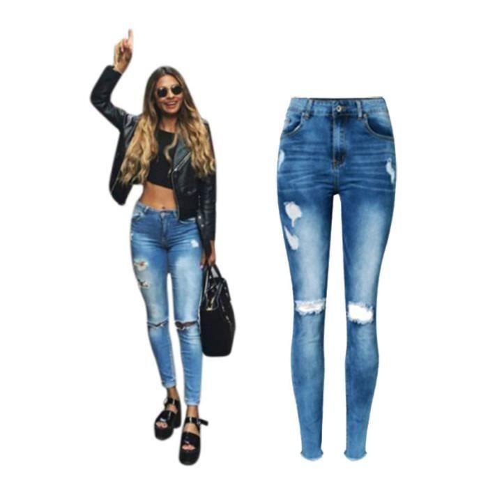 Jeans dechire de trou de haute taille pour Femmes ,Jeans Raye Ajuste de  Femmes,pantalon a crayon en denim pigeonant blanchi a la f685b58ffbec