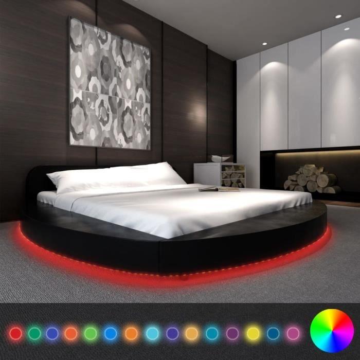 Superbe Cadre De Lit Rond Avec LED 180 X 200 Cm Cuir Artificiel Noir