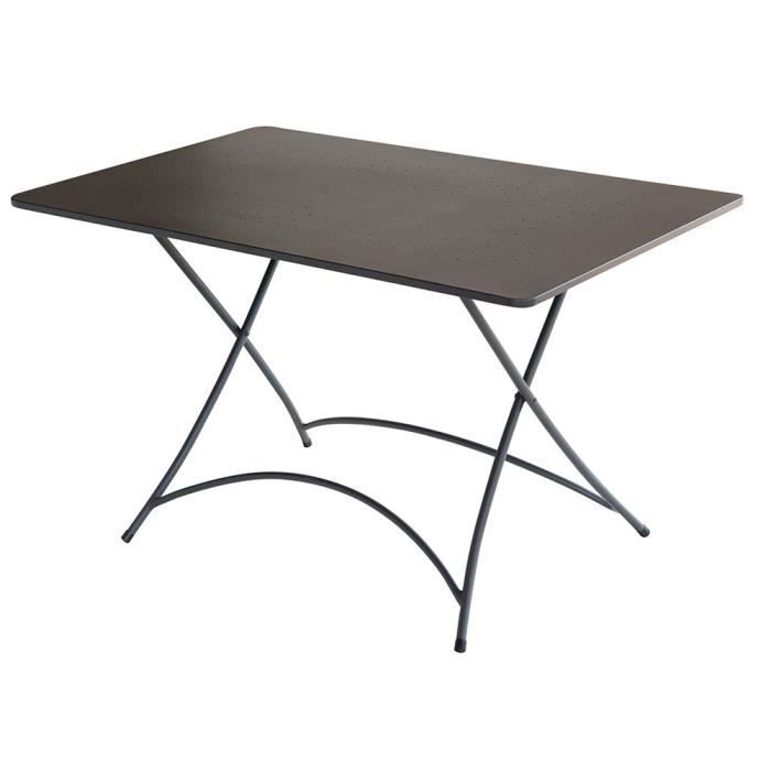 Table Rectangulaire De Jardin En Fer Forge Coloris Gris Anthracite
