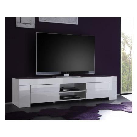 Meuble Tv Design Blanc Laqu Rocco  Cm  Achat  Vente Meuble Tv