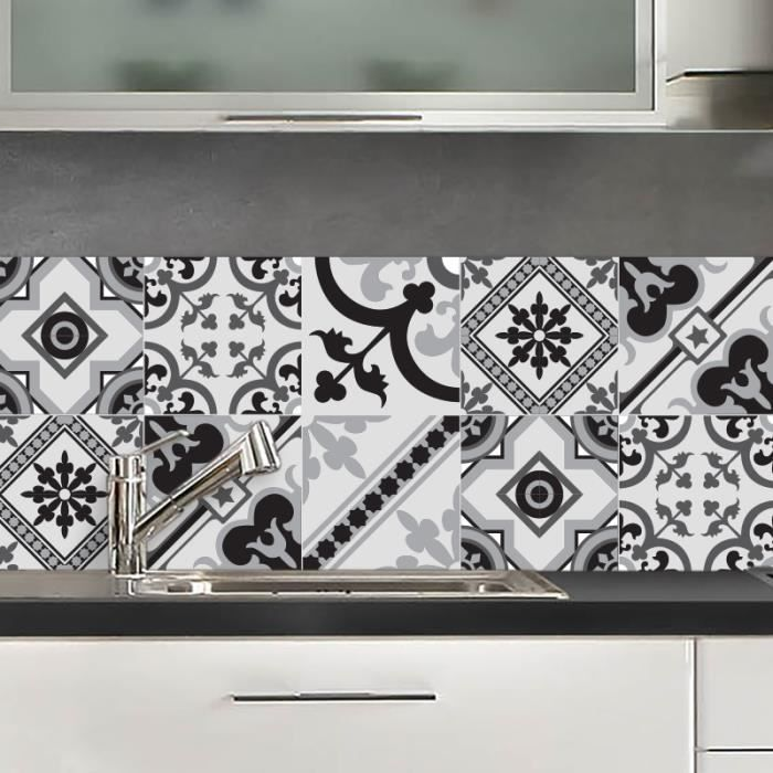 Credence adhesive milan noir et blanc 40x100 cm achat vente credence credence adhesive milan - Credence cuisine noir et blanc ...