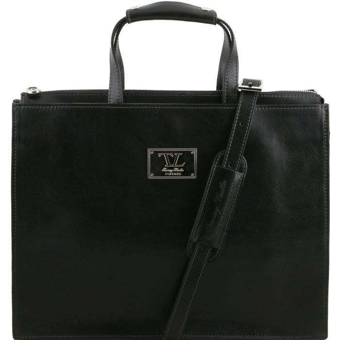 Tuscany Leather - Palermo - Serviette en cuir avec 3 compartiments - Noir - Homme