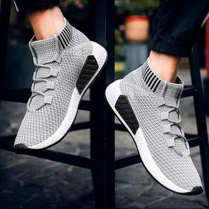Hommes Haute Aide Cross Tied Doux Semelle Chaussures de Course Gym Chaussures Chaussettes Chaussures@rouge OEUIJUV1