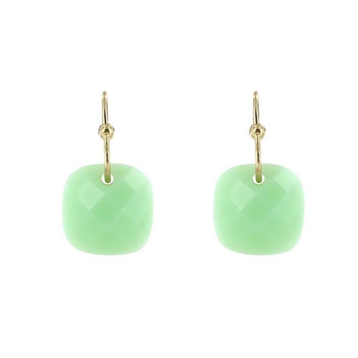Les Poulettes Bijoux - Boucles dOreilles Plaqué Or Picot et Verre Facetté Vert