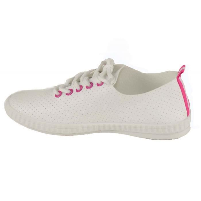 Baskets Sneakers Femme légères aspect cuir souple -41