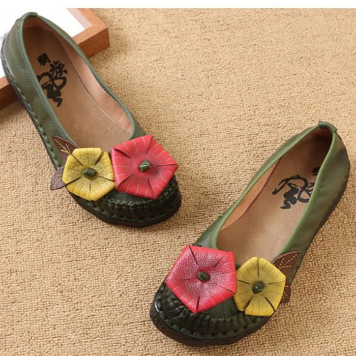 New Spring Summer Handmade Flower Pattern Leather Flat Shoes Moccasins RC29B Taille-39