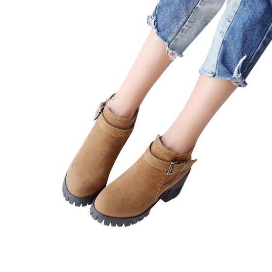 Rondes Martin Toe Carrée Bottes Talons Moyen Shoes Boucle Daim Bracelet Femmes En Qinhig7193 MVpqSUz