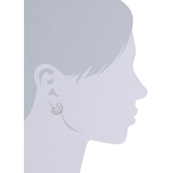 Merii boucle doreille créole rhodium plaqué zircone blanc mm moi -- 1H9F06