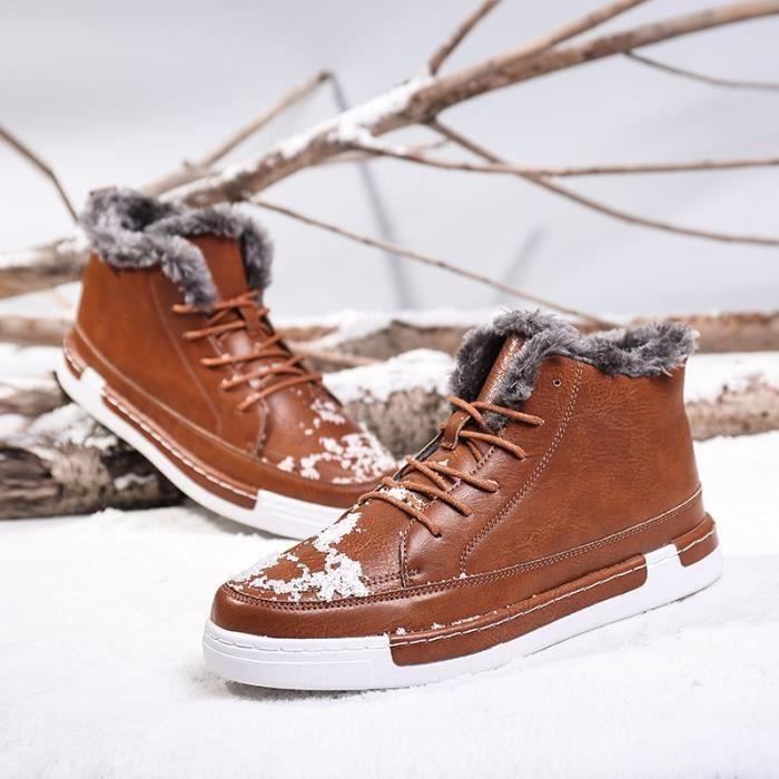 Bottes pour Hommemarron clair 39 fourrure d'hiver Mode chaud Chaussures causales en peluche en cuir_536