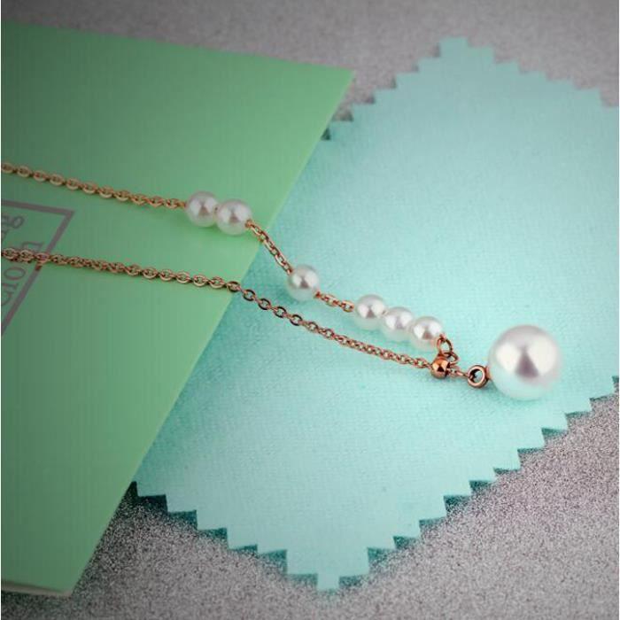 Collier Tempérament de titane simple collier de coquillages Mme King court paragraphe perle rose
