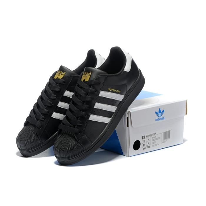 Baskets Adidas Superstar Foundation Homme ou Femme Chaussures Noir/Blanc/Or