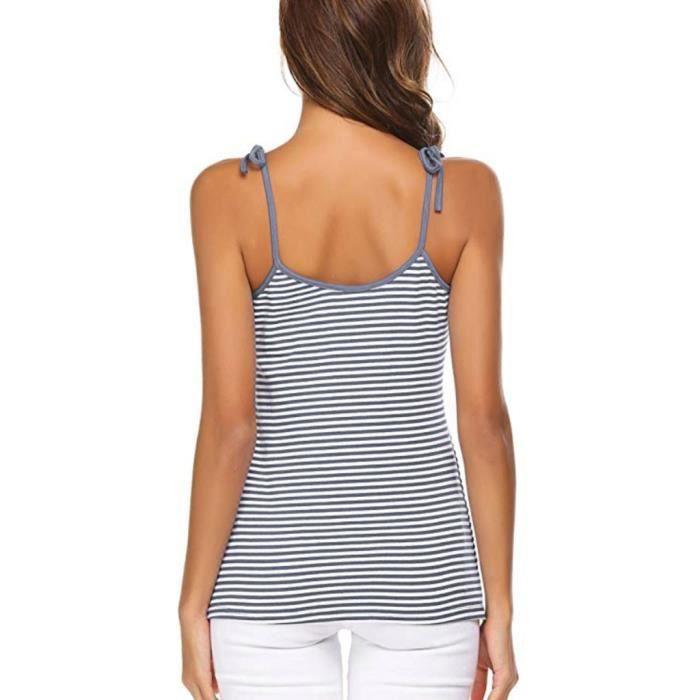 Mode Gris Dames Manches Bandage Courtes shirt Stripe Casual Hauts Féminine T aap1rqR