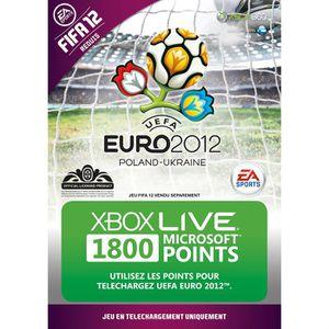 CARTE MULTIMEDIA CARTE PRÉPAYÉE EURO 2012 1800 POINTS XBOX LIVE