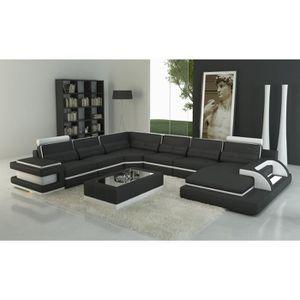 CANAPÉ - SOFA - DIVAN Canapé panoramique cuir noir et blanc design avec