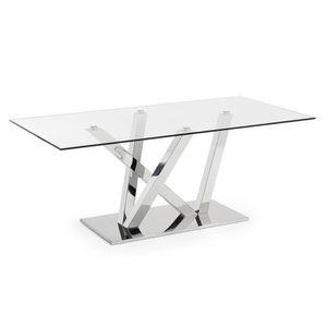 TABLE À MANGER SEULE Table Nyc 200x100, inox et verre transparent