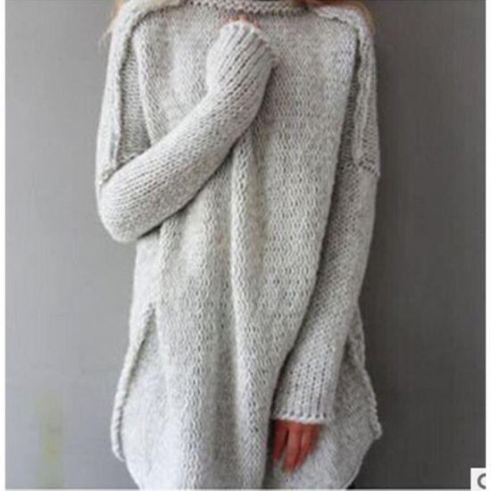 161619cc98298 Femmes hiver pulls col roulé en laine mélangée à manches longues ...