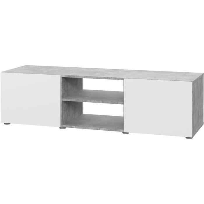PILVI Meuble TV - Blanc et béton gris clair - L 140 x P 42 x H 31 cm