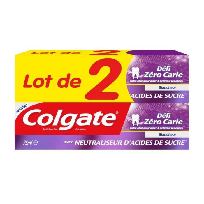 COLGATE Dentifrice Défi Zéro Carie Blancheur - 2x75ml