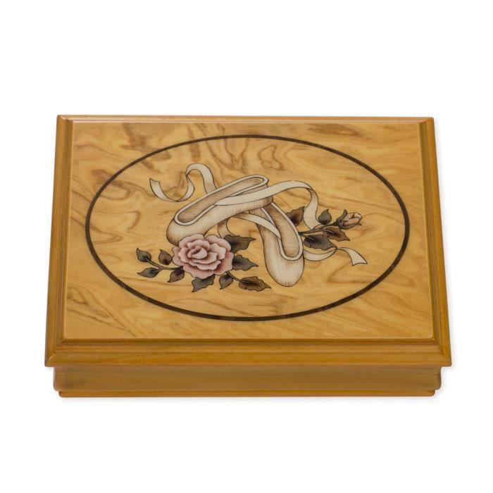 28076 Ballerina Motif jouer la mélodie « Rêve d'amour » Boîte à bijoux en bois BUUWC